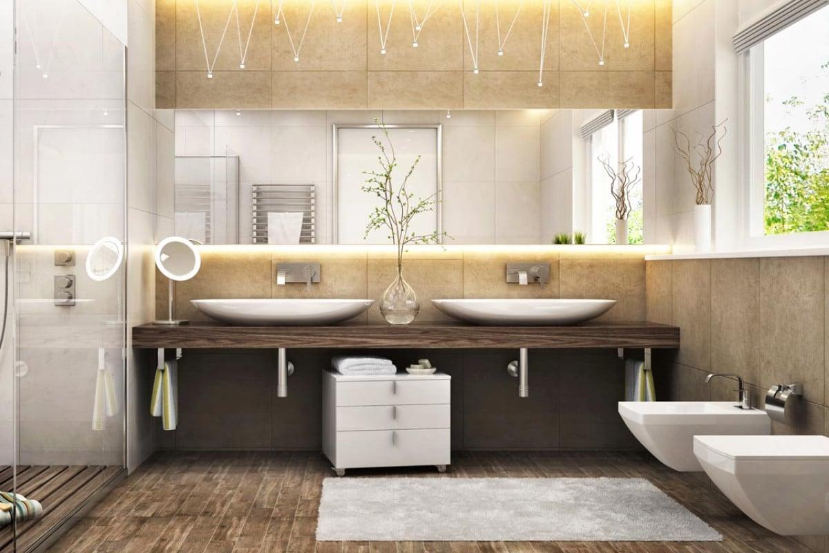 Designer salle de bain bois et blanc