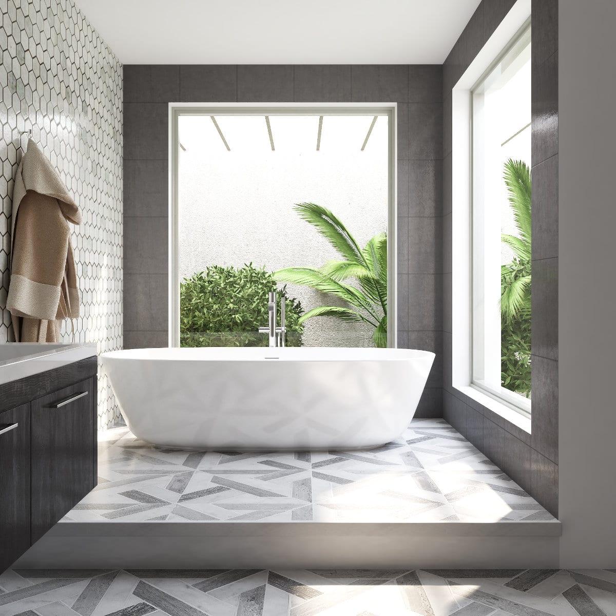 Salle de bain avec 2 fenetres par un designer d'interieur