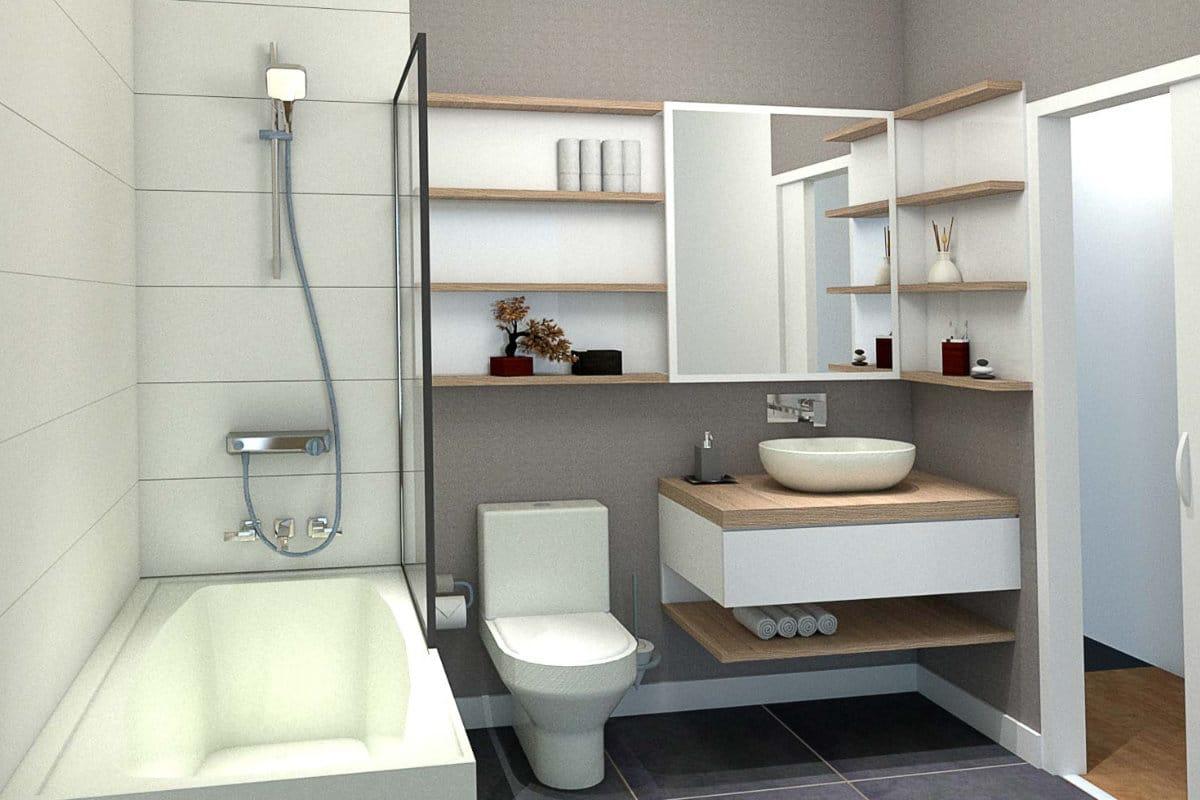Salle de bain bois et blanc creer par un designer d'interieur