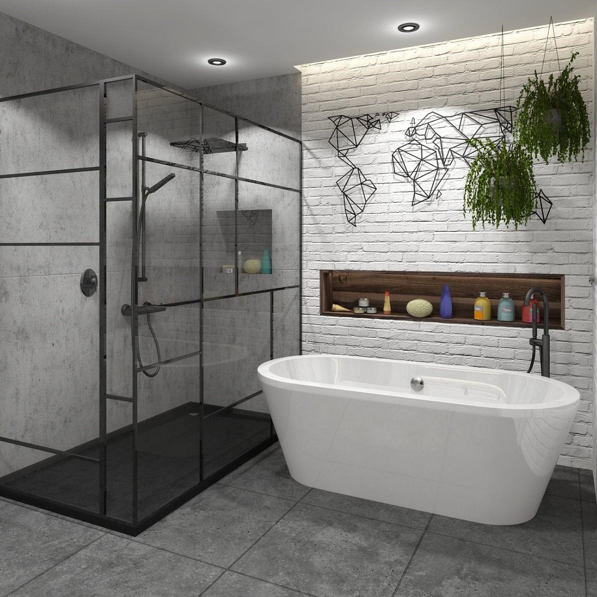 Salle de bain brique blanche par un designer d'interieur